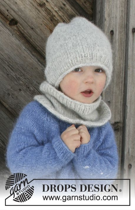 The set consists of: Knitted hat and neck warmer for children. Sizes 2 - 12 years. The set is worked in DROPS Air.