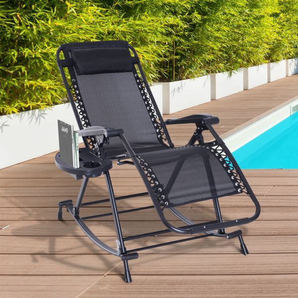 Outsunny Folding Zero Gravity Rocking Lounge Chair With Cup Holder Black Outdoor Chairs Lounge Chair Outdoor Zero Gravity Chair