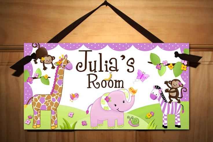 DOOR SIGN Pretty Purple Girly Jungle Animals Girls Bedroom Baby Nursery Kids Bedroom Wall Art. $14.00, via Etsy.