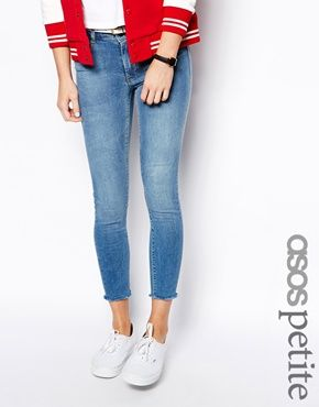ASOS PETITE Ridley Supersoft High Waisted Ankle Grazer Jeans in Light Stonewash