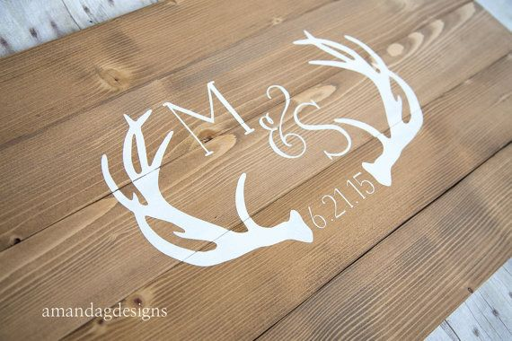 This hand painted guest book features rustic antlers along with the couples initials and wedding date (or wording of your choice). We use only