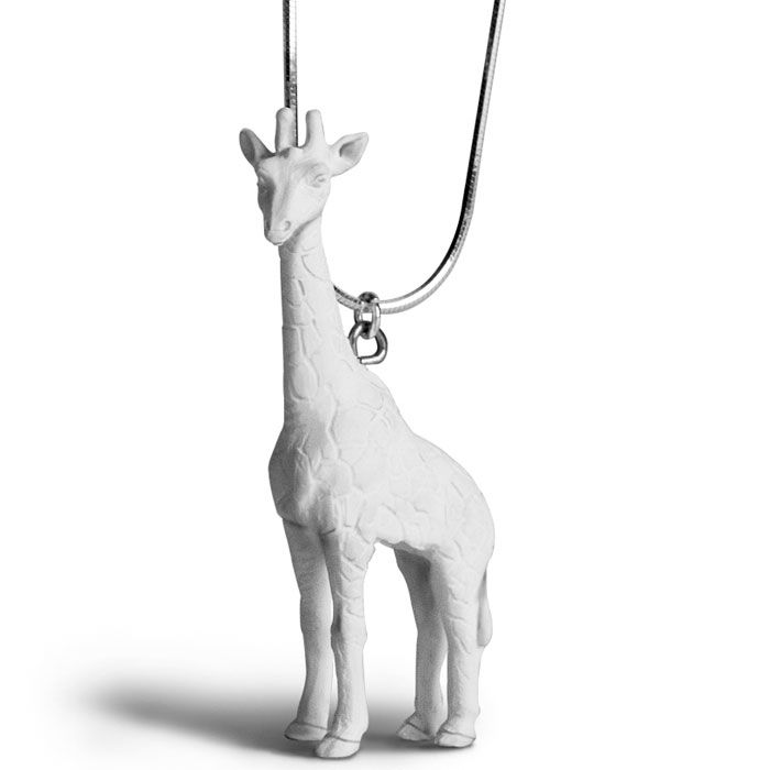 White giraffe necklace by Griffin Yang, resin, $65