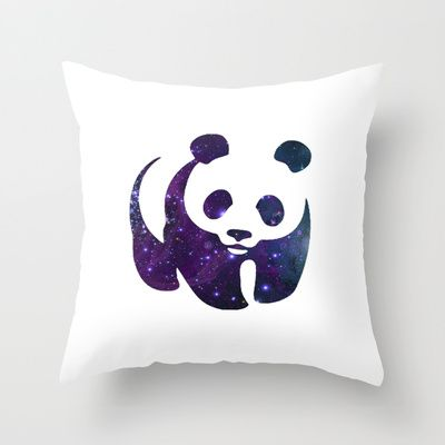 SPACE PANDA Throw Pillow by Caio Trindade - $20.00