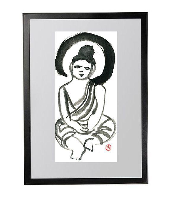 Buddha Zen Brush Fine Art Painting Buddha Meditating find at www.zenbrush.etsy.com