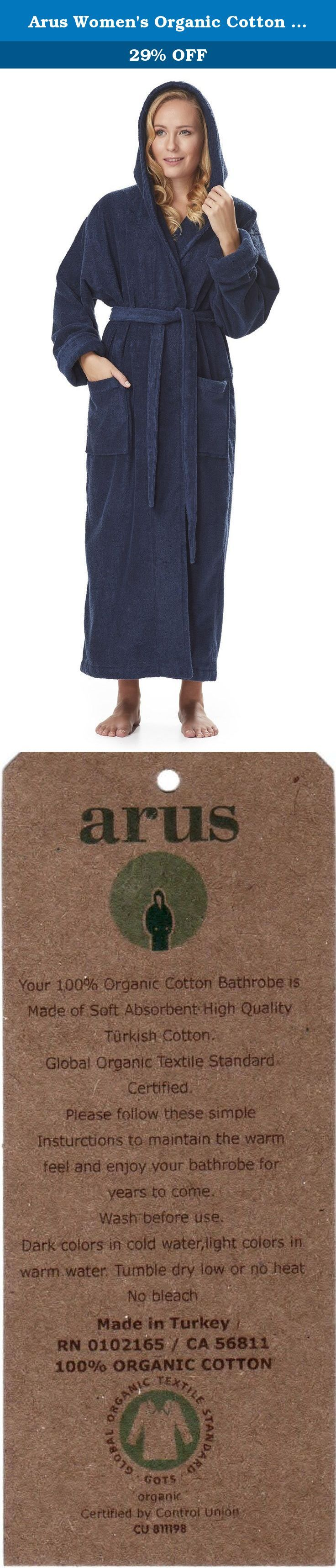 """Arus Women's Organic Cotton Hooded Full Length Turkish Bathrobe, Marine, L. Arus Women's Organic Cotton Hooded Full Length Turkish Bathrobe Ankle Long Robe. FULL LENGTH Wide Cut Style Turkish Terry Cotton bathrobe available in 4 Sizes (S - M - L - XL) and 4 colors with length up to 57"""". This Organic Ankle Length Style Bathrobe is designed for customers looking for a true ankle length bathrobe made of GOTS (Global Organic Textile Standard) Certified Organic Turkish Cotton. It has a self..."""