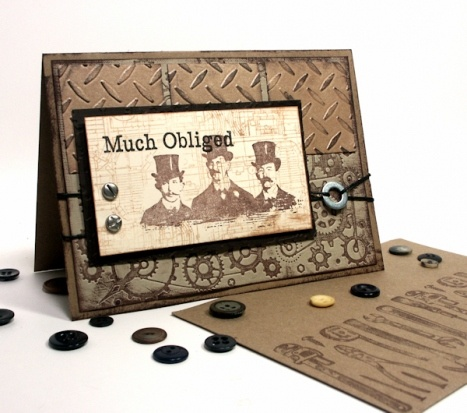 Steampunk Thank You Card - Sizzix Diamond plate embossing folder
