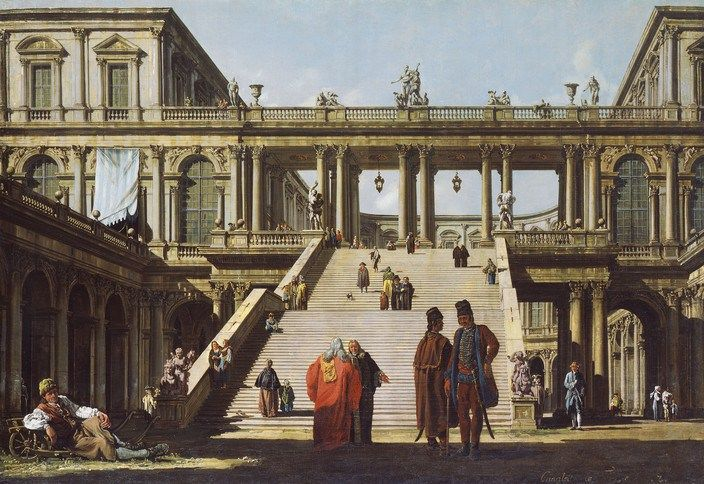 Bernardo Bellotto  Architecture with fantasy palace staircase, 1762, canvas,  76 x 110 cm © Hamburger Kunsthalle