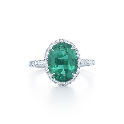 Oval shape emerald ring with diamonds set in platinum, Price upon request,Kwiat.com.