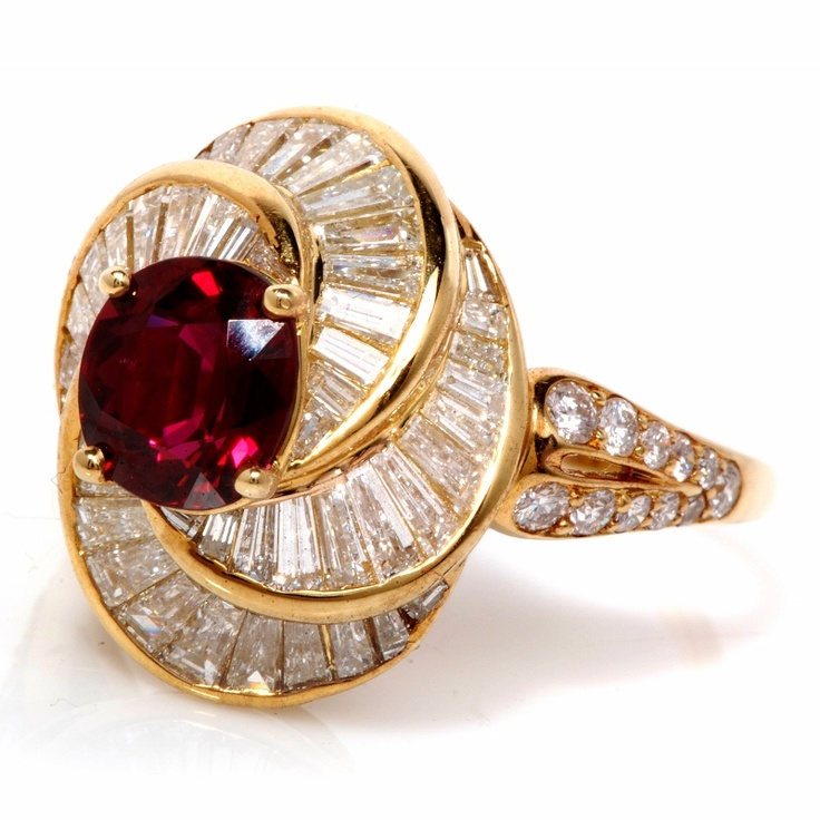 Kurt Wayne 7.45cts Ruby Diamond 18K Gold Ballerina Ring. Not a bad way to spend $43K