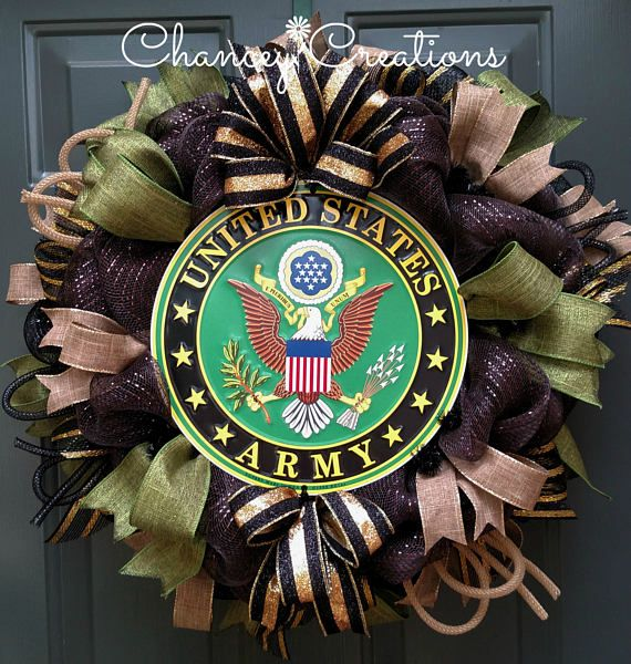 Army Wreath, United States Army Wreath, Military Wreath, Patriotic Wreath, Deco Mesh Wreath  There is no way we can ever repay our men and women in uniform but we can show our support and application for all they sacrifice. This wreath is made on a wire wreath frame using brown and black metallic foil poly deco mesh. Four different patterns of wired ribbon surround the center placed aluminum, made in the U.S.A, officially licensed Army logo sign. My wreaths will not be the cheapest but will…