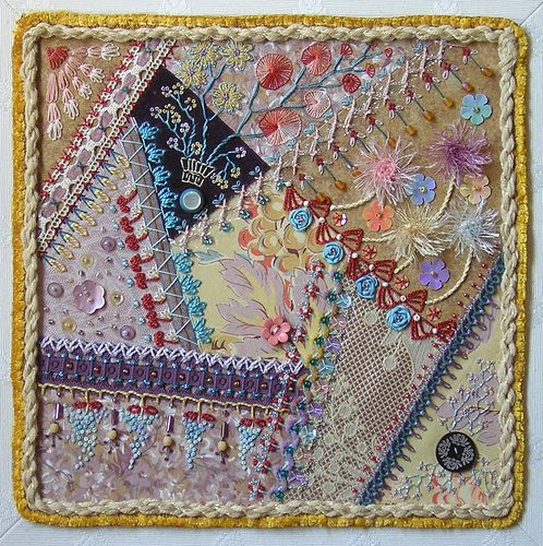 crazy quilt square When you look closely there are some really nice things here