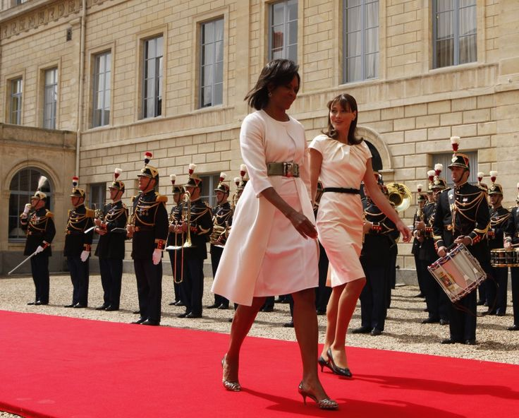 U.S. first lady Michelle Obama and French first lady Carla Bruni-Sarkozy.