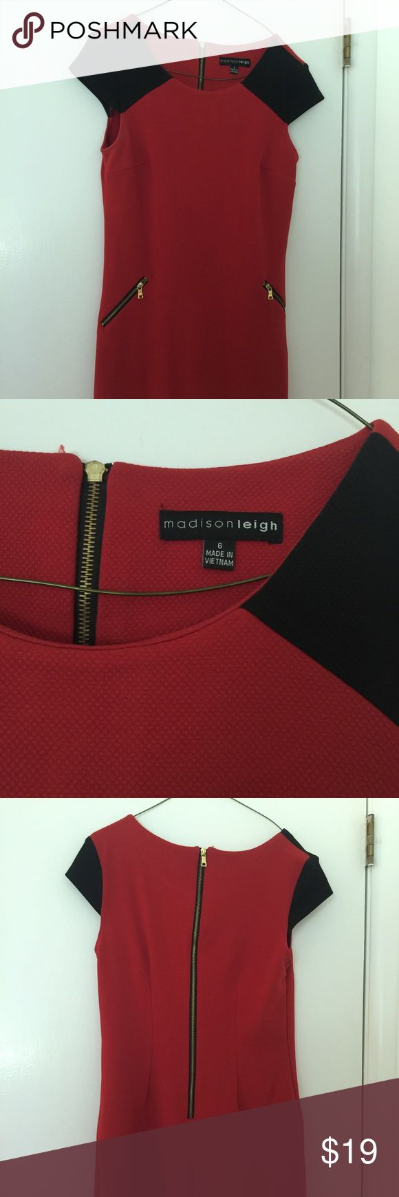 Madison Leigh size 6 Red and Black Shift Dress Beautiful Madison Leigh (size 6) Red and Black shift dress with gold zippers and cap sleeves. Stylish dress for work or play - great for UGA football games! Excellent condition - Only worn once! 94% Polyester 6% Spandex Madison Leigh Dresses Midi