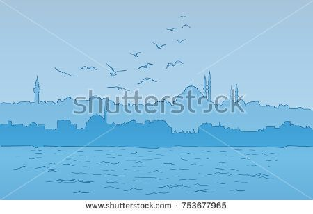 Istanbul city silhouette with mosque, Bosphorus and flying seagulls, Vector hand drawn lines on blue background