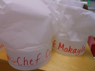 Make a chef hat, combine it with a writing activity - nursery write their names, reception...something else. I will think of more ideas