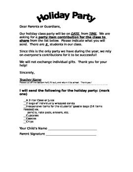 This Holiday Party letter lets parents know the date and time of our class holiday party.  It also gives parents a choice of items they can contribute to the party.  This letter is in both English and Spanish and can be used for any age classroom.  Check out my other products at DePetro's Dozen!