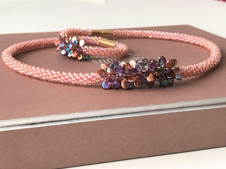Kumihimo Necklace&Bracelet - Salmon Rose Joy -