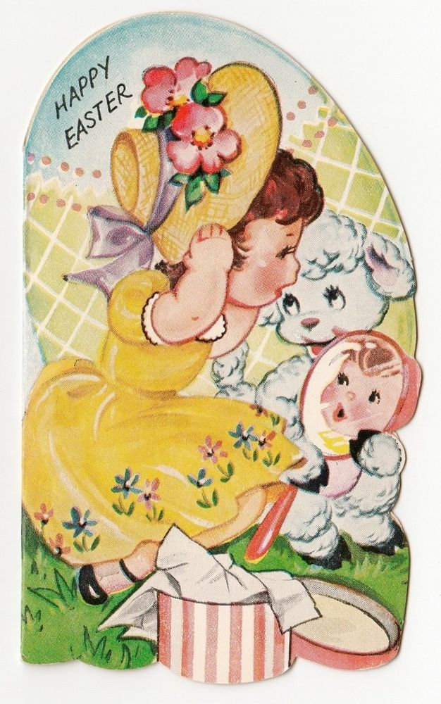 Vintage Greeting Card Easter Hat Box UNUSED Mirror Girl Lamb A-Meri-Card a257