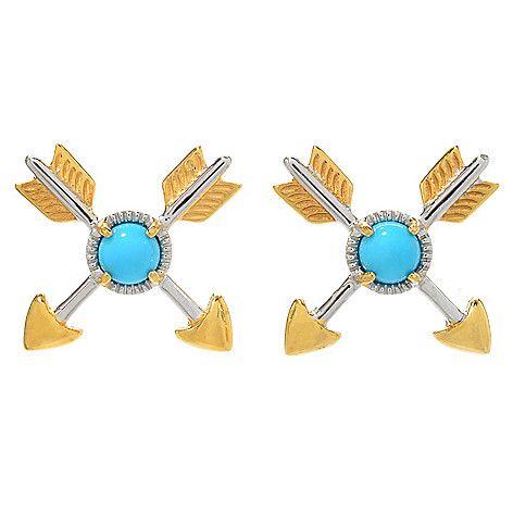159-650 - Gems en Vogue Sleeping Beauty Turquoise Crossed Arrow Stud Earrings