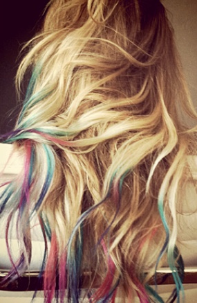 Rainbows Hair, Colored Tips, Dye Hair, Dips Dyed, Dips Dyes, Hairchalk, Dyes Hair, Hair Chalk, Lauren Conrad