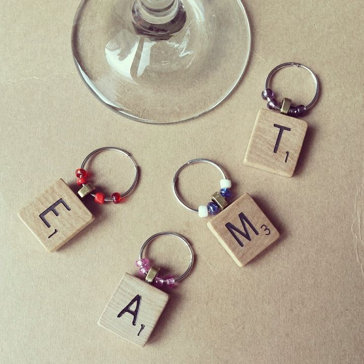 Scrabble Wine Charms, Wine Charms Set, Wine Gift Set, Housewarming Gift, Game Lover, Hostess Gift, Letter Charms,  Wine Glass Tags by ElleSeaCreations on Etsy