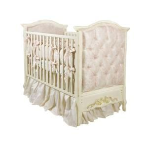 Designer French Panel Upholstered Crib with Gold Gilding from www.wellappointedhouse.com