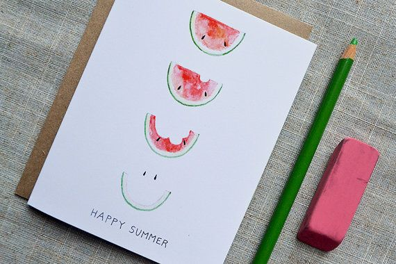 Happy Summer Smiling Watermelon Card. Summer Party by AmandaLBlake