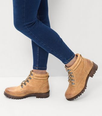 Wide Fit Light Brown Lace Up Ankle Boots  | New Look