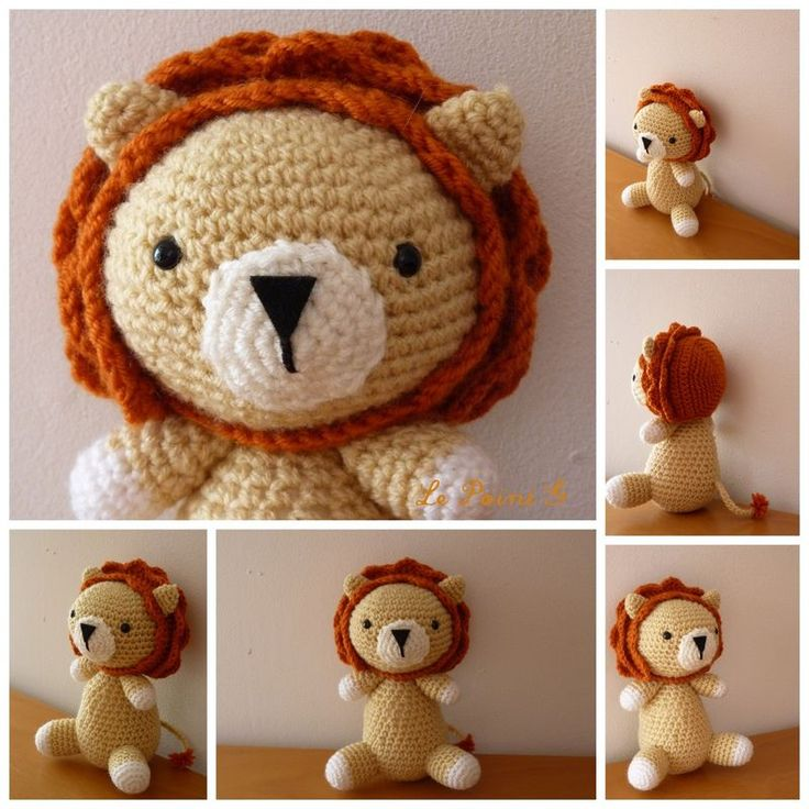 tricoter un lion en pluche
