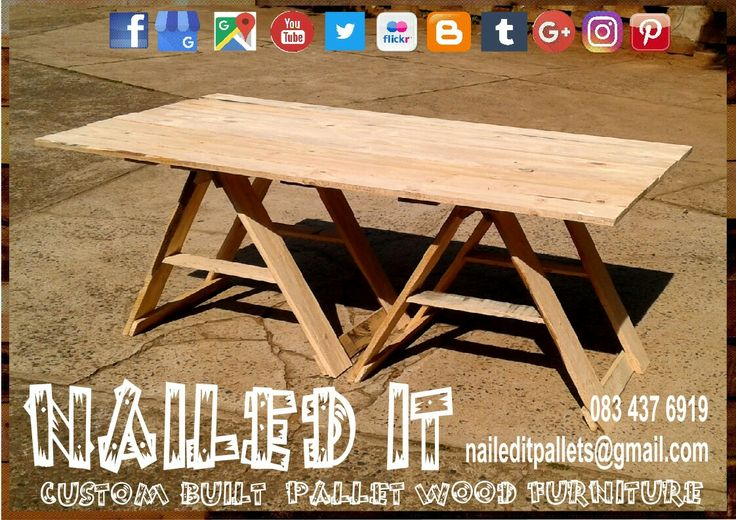 Pallet wood trestle table #trestletable #trestletables #pallettrestletable #palletfurniture #palletoutdoorfurniture #palletfurnituredurban #customfurniture #custompalletfurnituredurban #naileditcustombuiltpalletfurniture #nailedcustompalletfurniture