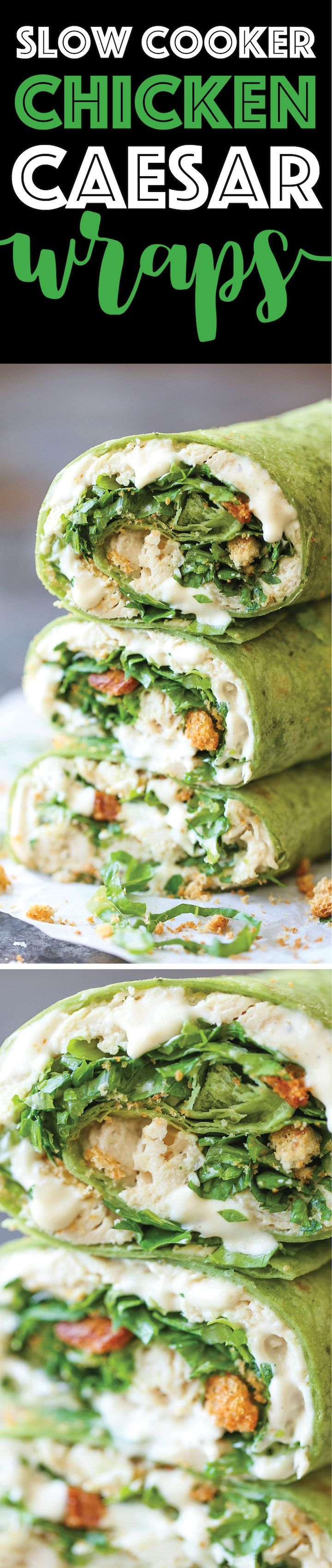 Slow Cooker Chicken Caesar Wraps - Everyone's favorite wrap made right in the slow cooker! The chicken is so tender, juicy and melt-in-your-mouth amazing!