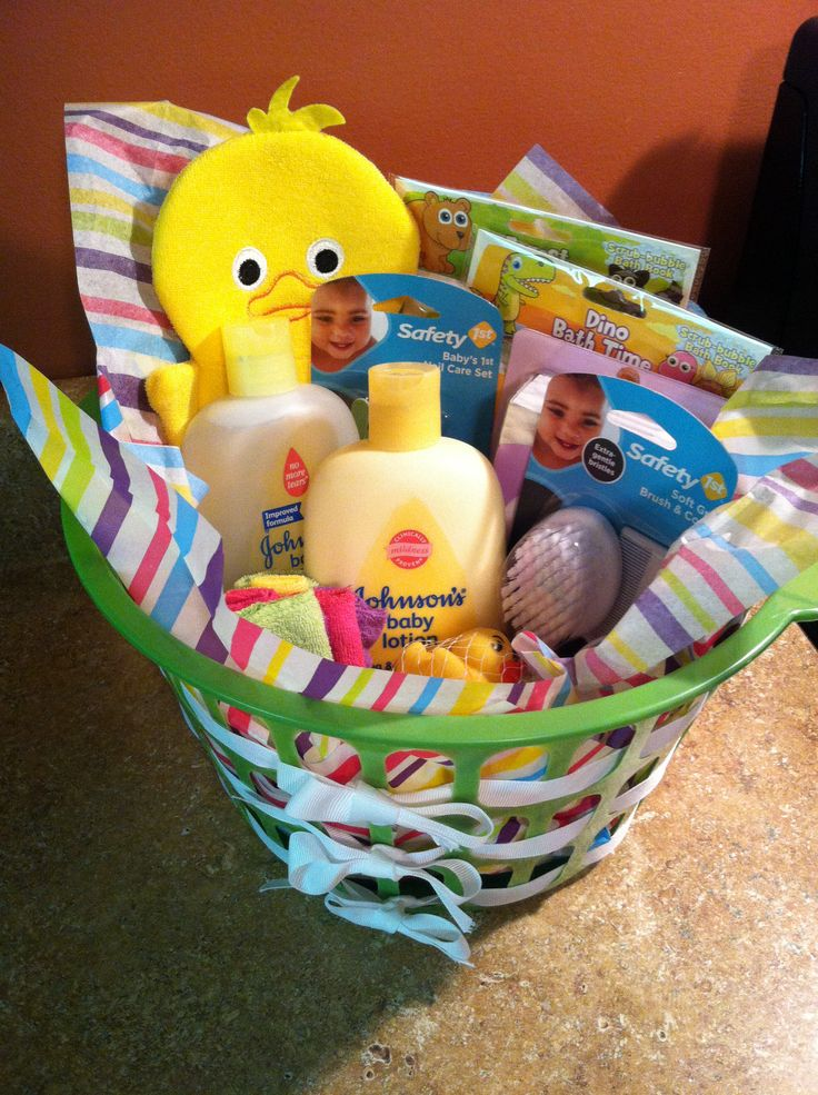 Inexpensive Baby Shower Gift! Dollar Tree Basket With Ribbon Weaved  Throughout With Bath Essentials From