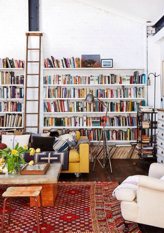 A home library, complete with ladder: when books become art. #inspiration