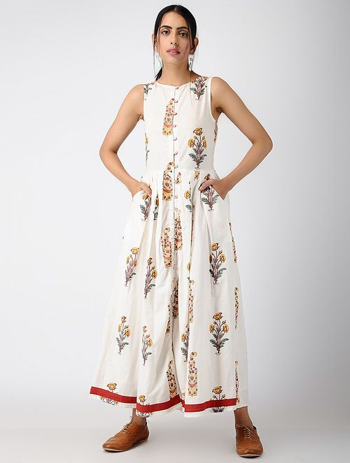 886afccdb5b4 Buy Ivory Block-printed Pleated Cotton Maxi Dress Online