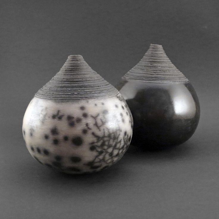 Black Light: Whispering Globes - Ildikó Károlyi #ceramics #raku #design
