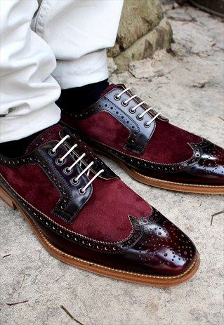 Catania Leather & Suede Two Tone Smart Brogue Shoes Burgundy