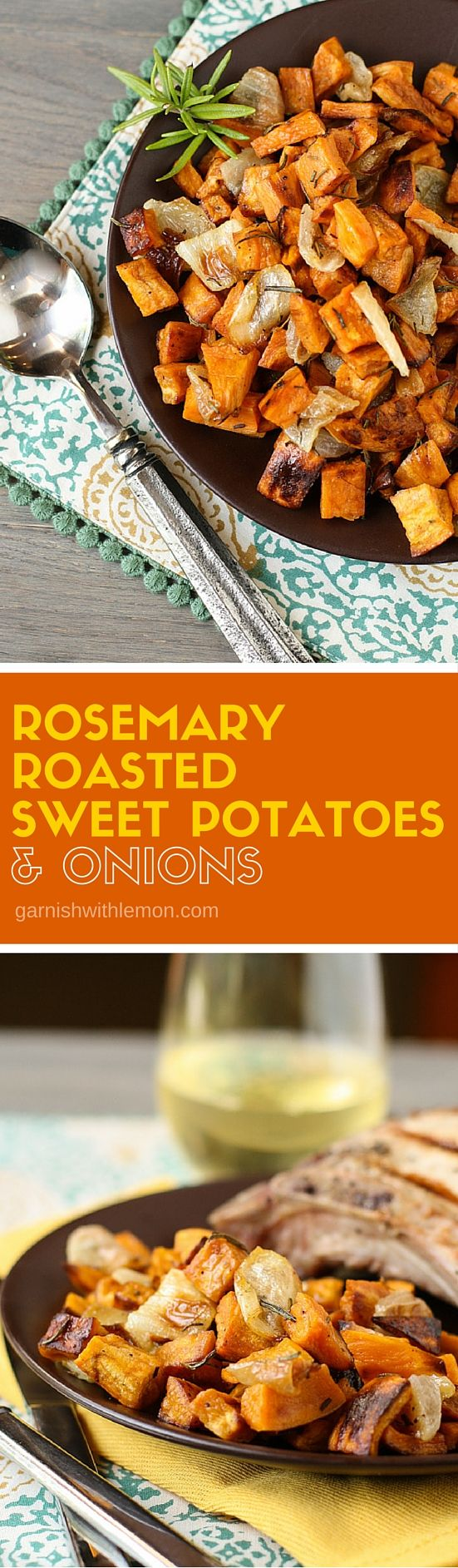 These paleo friendly Rosemary Roasted Sweet Potatoes & Onions are a huge family favorite. They make an easy side dish as well as an tasty hash the next day! ~ http://www.garnishwithlemon.com