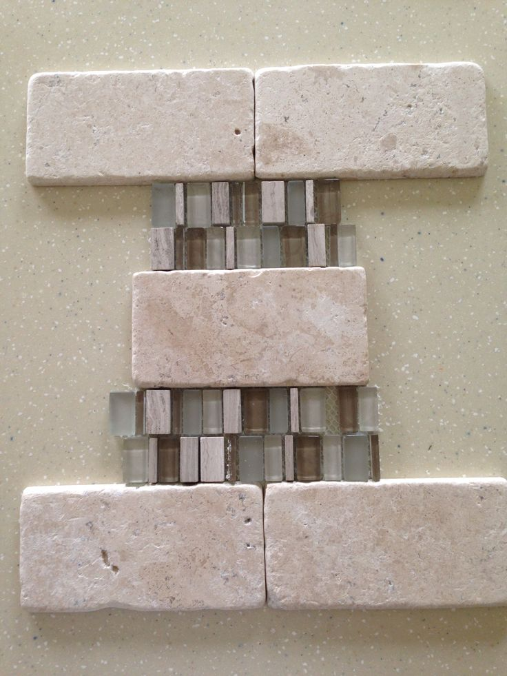 New Kitchen Backsplash Daltile T720 3x6 Tumbled With Daltile Clio Cl15 12x12 Mesh Mounted Glass