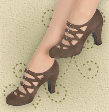 Aris Allen brown velvet 1940s-style 3-buckle dance shoes.  TOTALLY GETTING THESE.