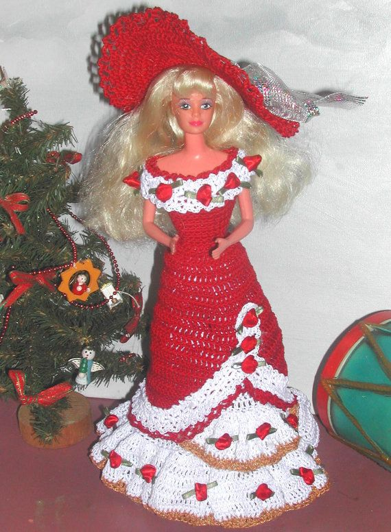 Crochet Fashion Doll Barbie  Pattern- #565 HOLIDAY STYLE