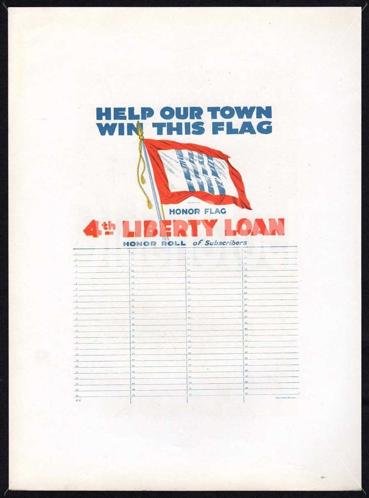 4th Liberty Loan Honor Flag Roll of Subscribers Vintage WWI Propaganda Poster Print