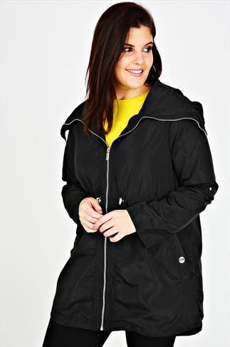 Black Minimalist Parka Jacket With High Zip Up Neck