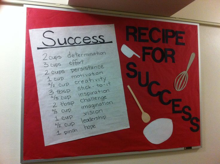 "Another ""Recipe for Success"" board. Bulletin boards, Resident Advisor, Resident Assistant, ResLife, Residence Life"