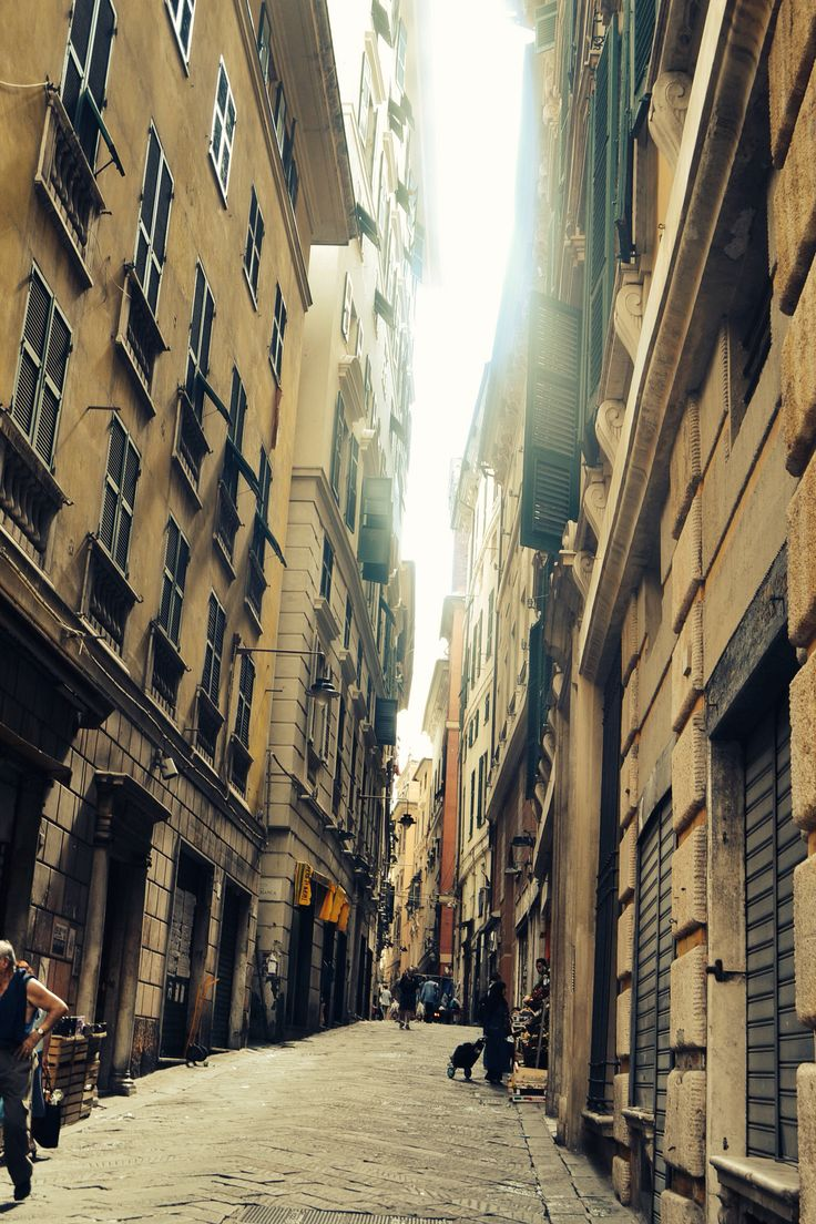 Street view, narrow streets of Genoa, Italy