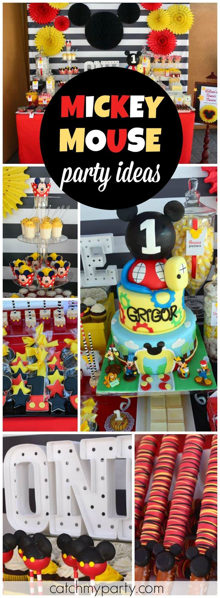 You must see this amazing Mickey Mouse 1st birthday party! See more party ideas at CatchMyParty.com!