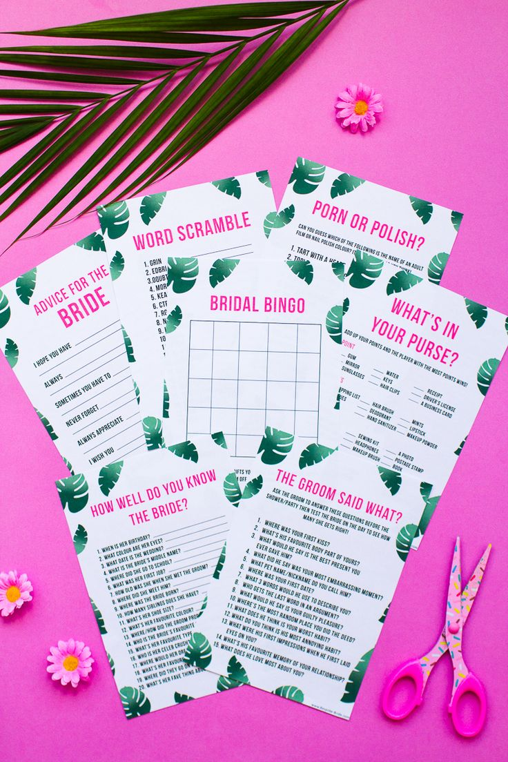 What's in your purse bag bridal shower game bachelorette party tropical theme games pack palm pink green-3
