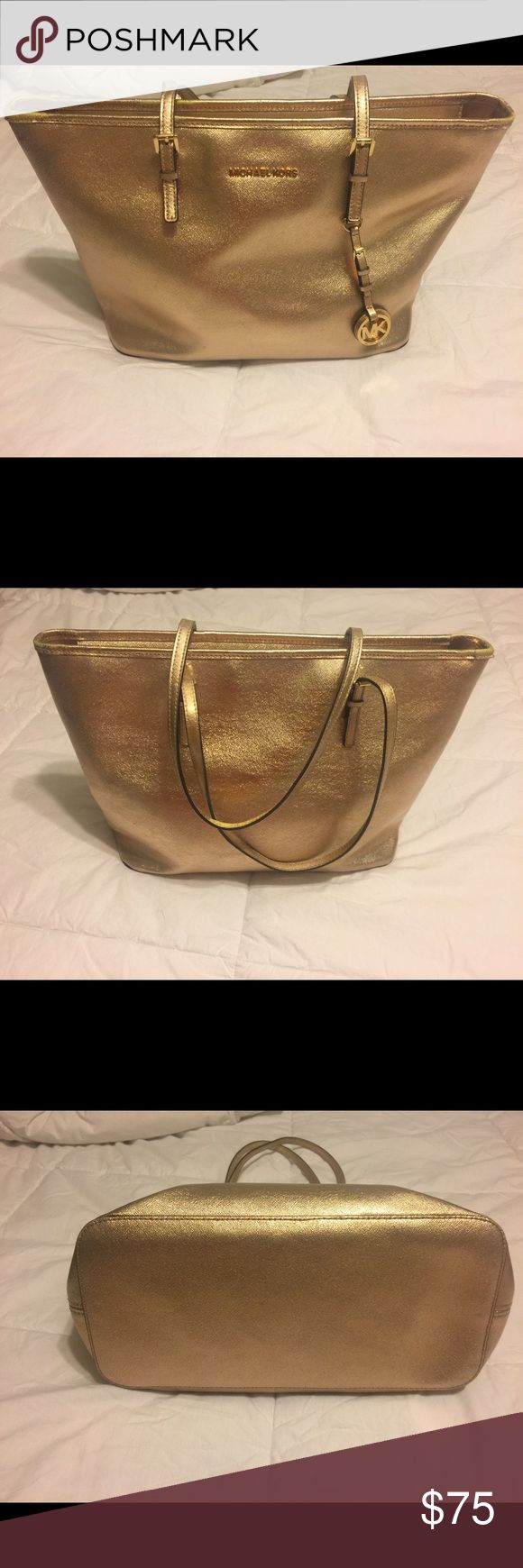 Large Michael Kors jet set tote Gold good used condition will accept pp Michael Kors Bags Totes