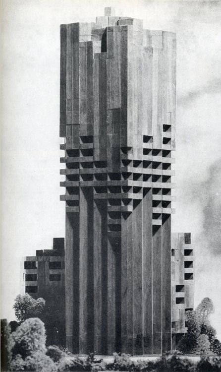 Welcome to your concrete prison. Gian Paolo Valenti 1962. Brutalistic architecture.