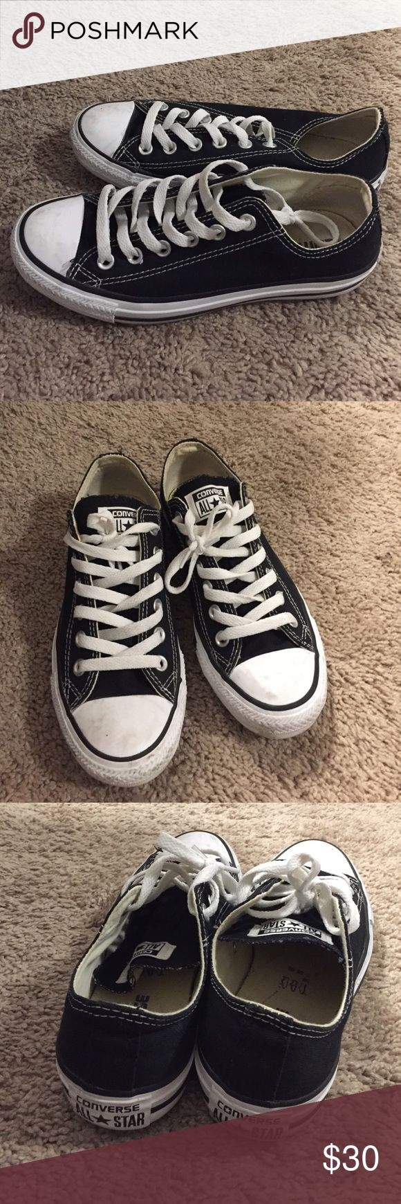 Black low top Converse Sz 7 women's Men's Sz 5 Low top chucks. Great condition. Sz 5 in men's Sz 7 in women's Converse Shoes Athletic Shoes