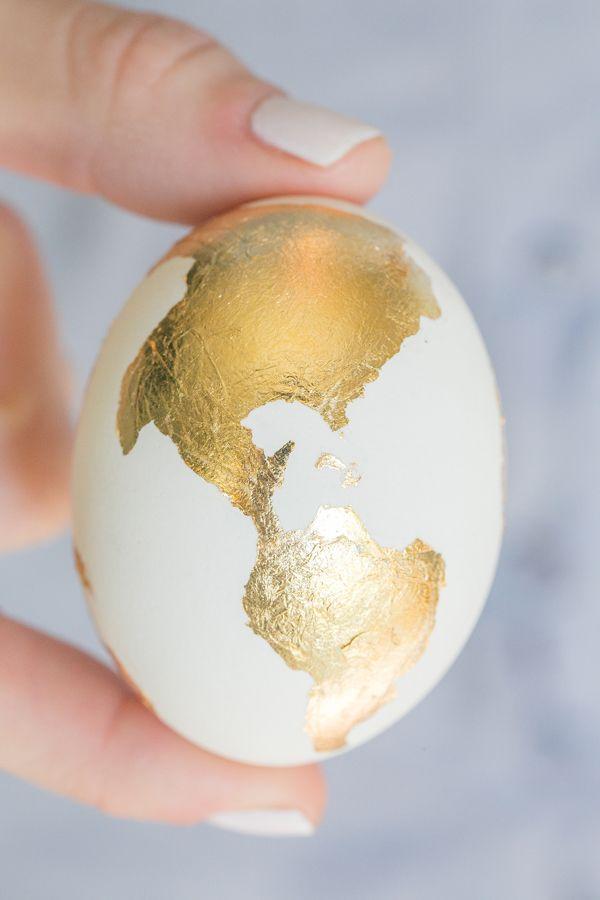Golden World Map Egg for Easter.